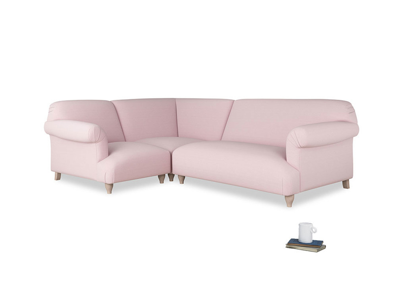 Large left hand Soufflé Modular Corner Sofa in Pale Rose vintage linen with both arms