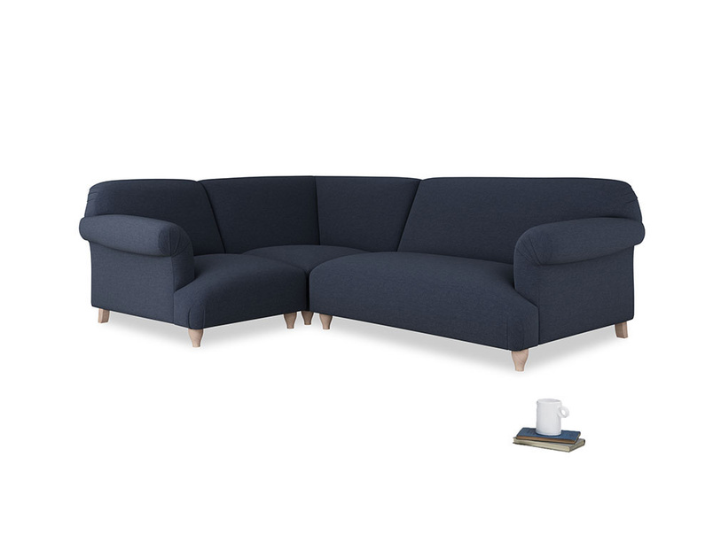 Large left hand Soufflé Modular Corner Sofa in Indigo vintage linen with both arms