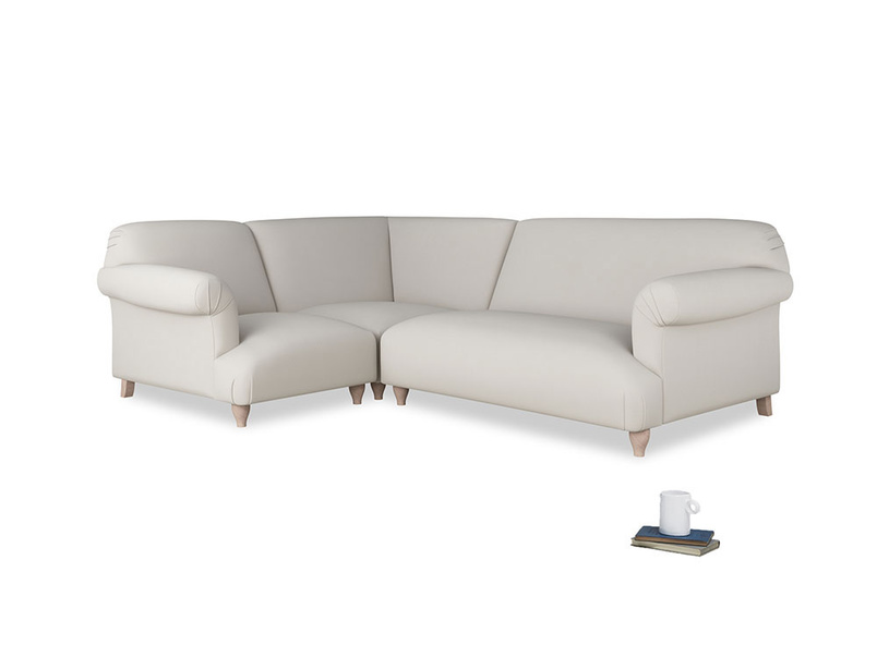Large left hand Soufflé Modular Corner Sofa in Moondust grey clever cotton with both arms