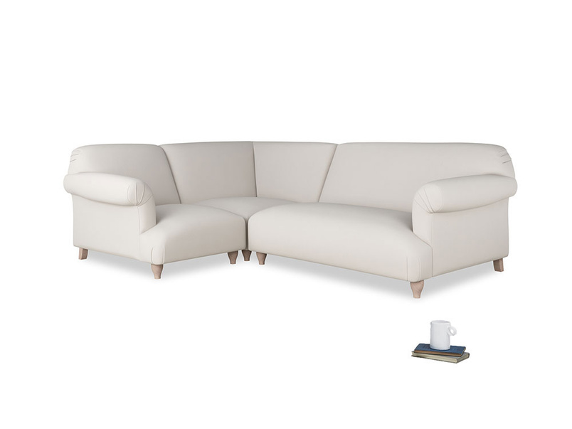 Large left hand Soufflé Modular Corner Sofa in Chalk clever cotton with both arms