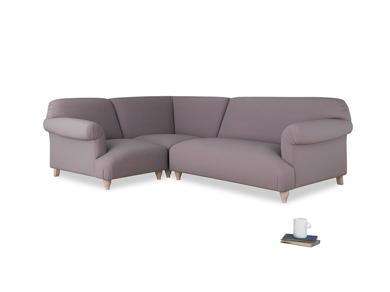 Large left hand Soufflé Modular Corner Sofa in Lavender brushed cotton with both arms