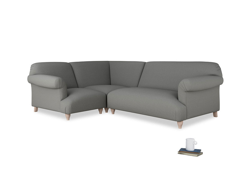 Large left hand Soufflé Modular Corner Sofa in French Grey brushed cotton with both arms