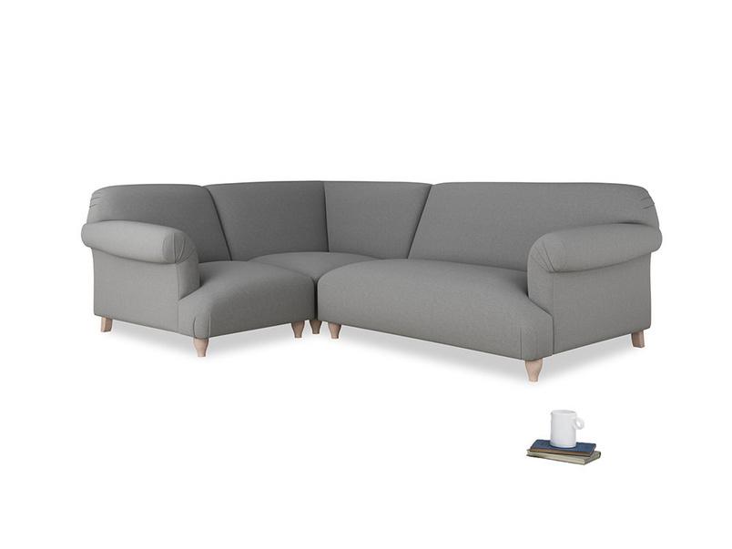 Large left hand Soufflé Modular Corner Sofa in Gun Metal brushed cotton with both arms