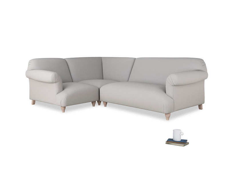 Large left hand Soufflé Modular Corner Sofa in Flint brushed cotton with both arms
