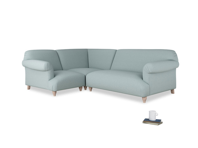 Large left hand Soufflé Modular Corner Sofa in Smoke blue brushed cotton with both arms