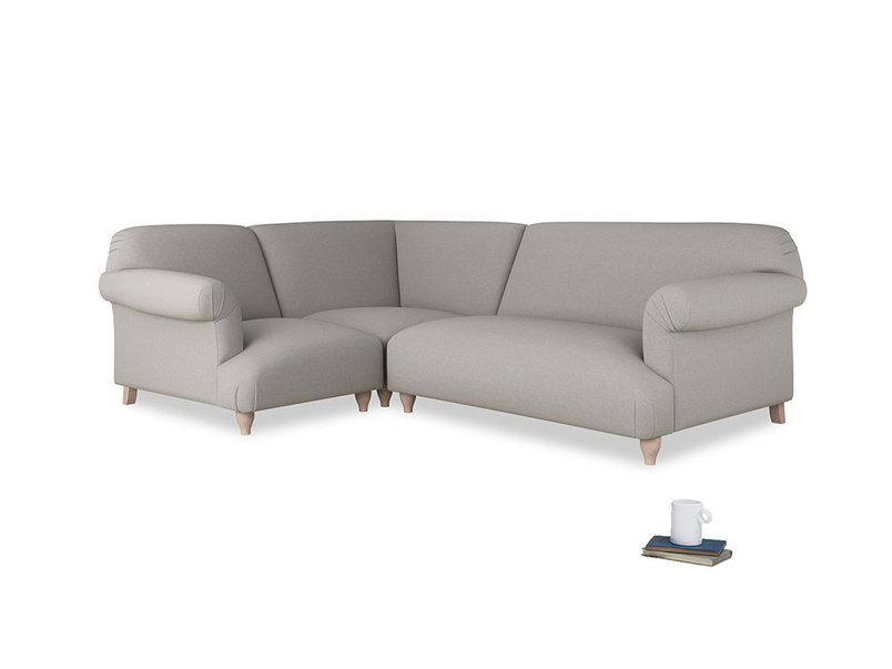 Large left hand Soufflé Modular Corner Sofa in Wolf brushed cotton with both arms