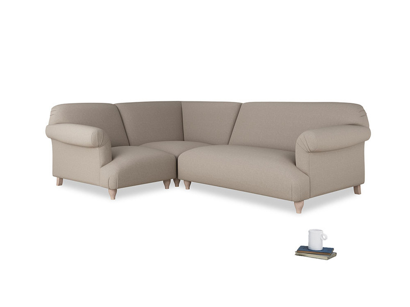 Large left hand Soufflé Modular Corner Sofa in Driftwood brushed cotton with both arms