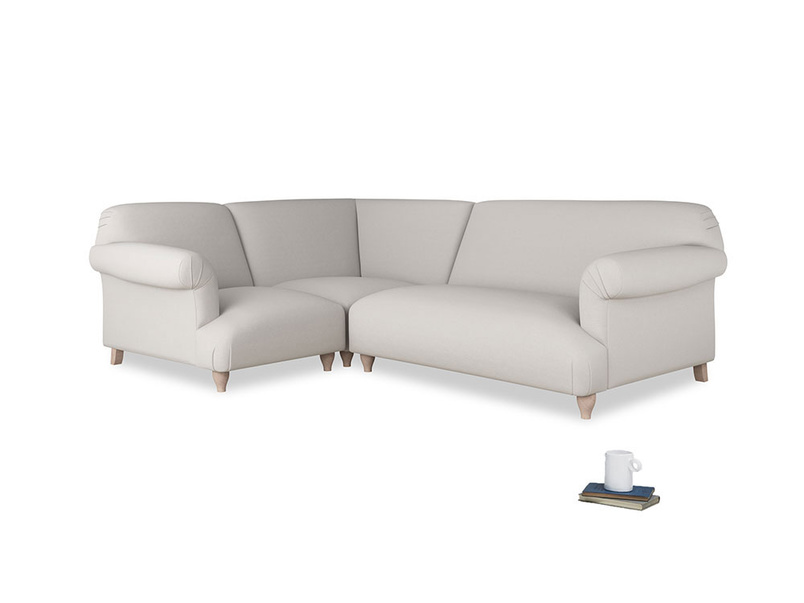 Large left hand Soufflé Modular Corner Sofa in Lunar Grey washed cotton linen with both arms