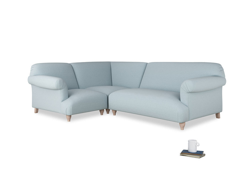 Large left hand Soufflé Modular Corner Sofa in Soothing blue washed cotton linen with both arms