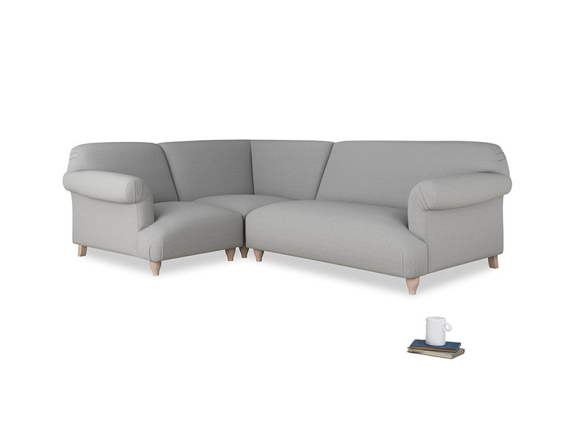 Large left hand Soufflé Modular Corner Sofa in Magnesium washed cotton linen with both arms