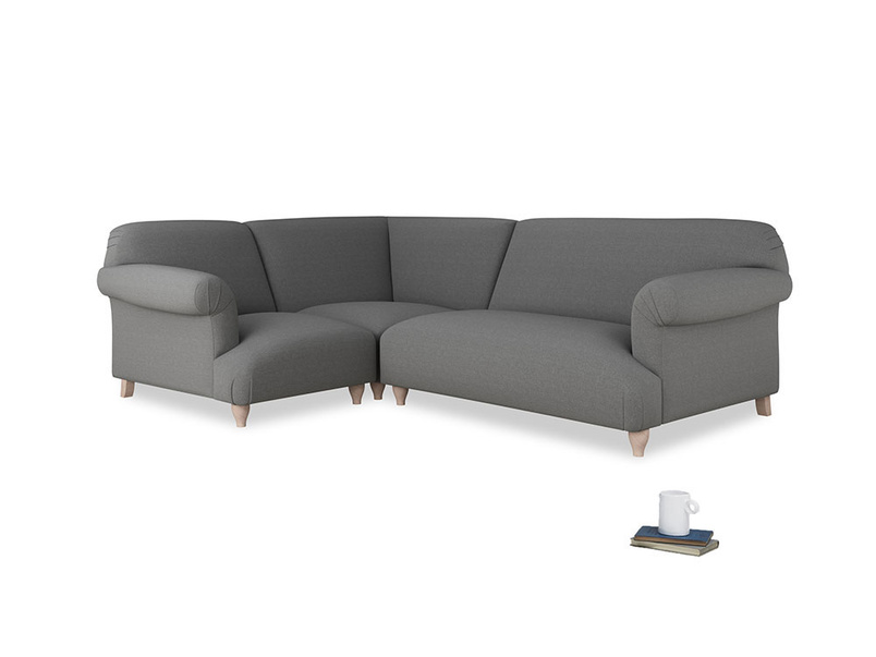 Large left hand Soufflé Modular Corner Sofa in Ash washed cotton linen with both arms