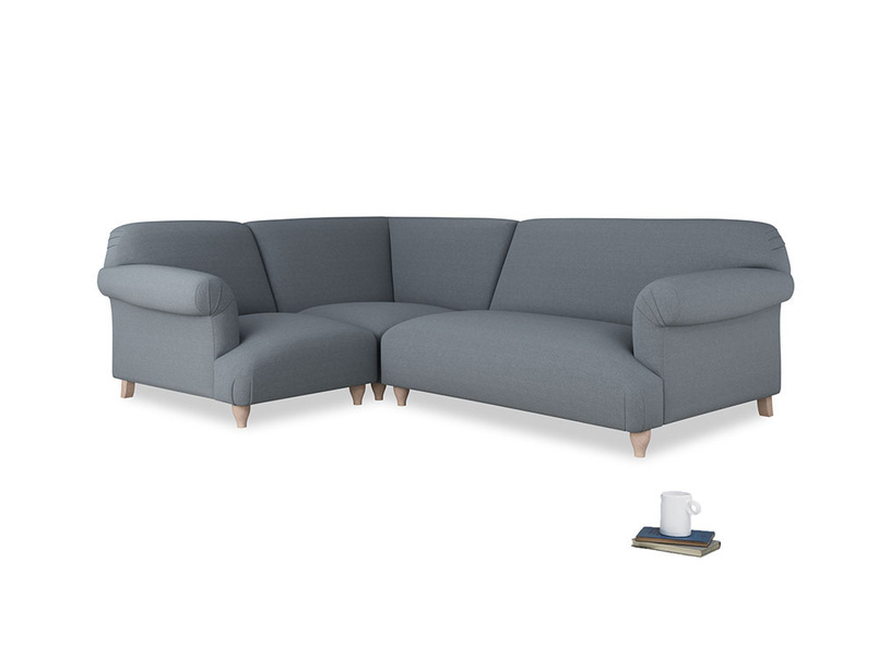 Large left hand Soufflé Modular Corner Sofa in Blue Storm washed cotton linen with both arms