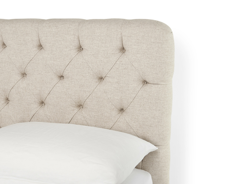 Contemporary Billow deep-buttoned upholstered headboard