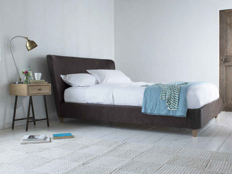 Retro style contemporary Smoke upholstered bed