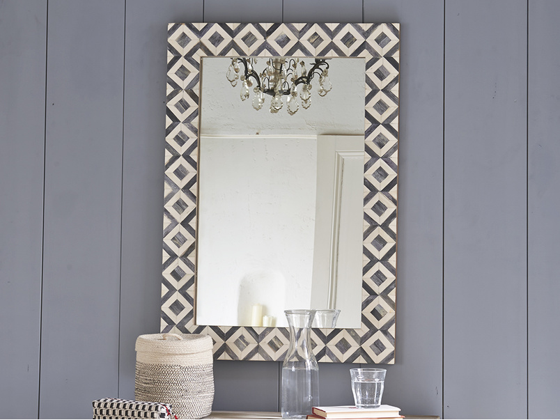 Bone inlay monochrome Banyan handmade wall mirror