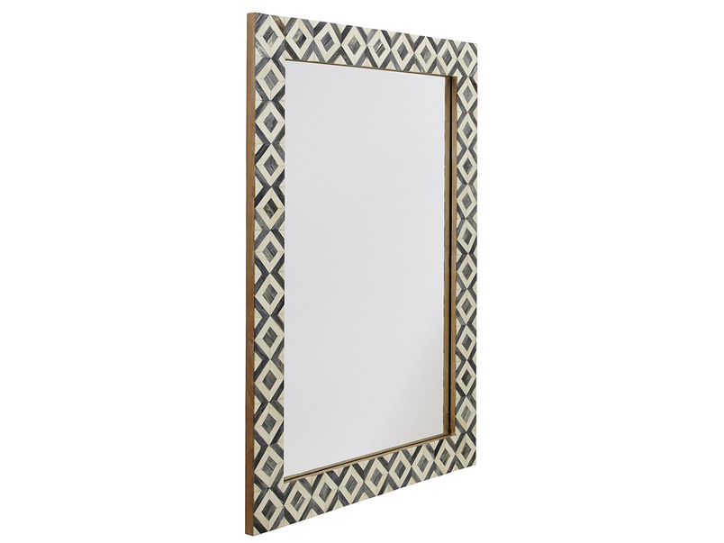Bone inlay Banyan monochrome handmade wall mirror