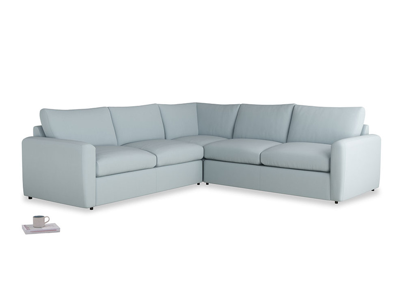 Even Sided  Chatnap modular corner storage sofa in Scandi blue clever cotton with both arms