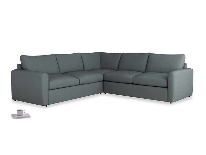 Even Sided  Chatnap modular corner storage sofa in Meteor grey clever linen with both arms