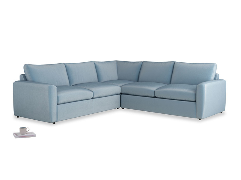Even Sided  Chatnap modular corner storage sofa in Chalky blue vintage velvet with both arms