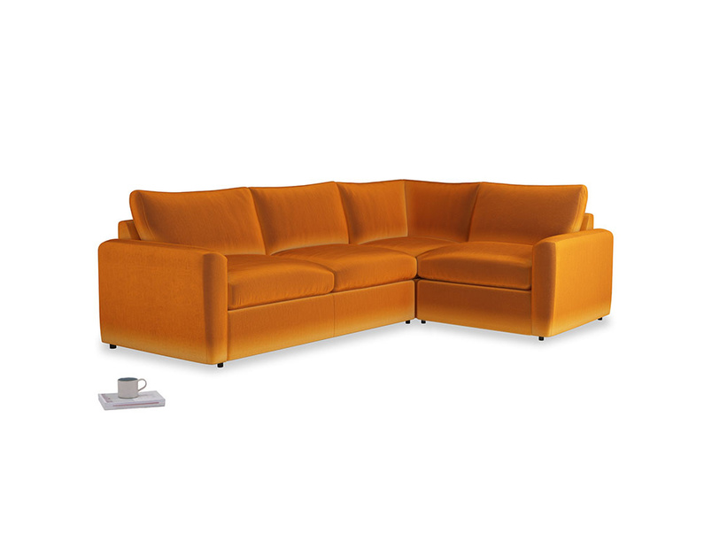 Large right hand Chatnap modular corner storage sofa in Spiced Orange clever velvet with both arms