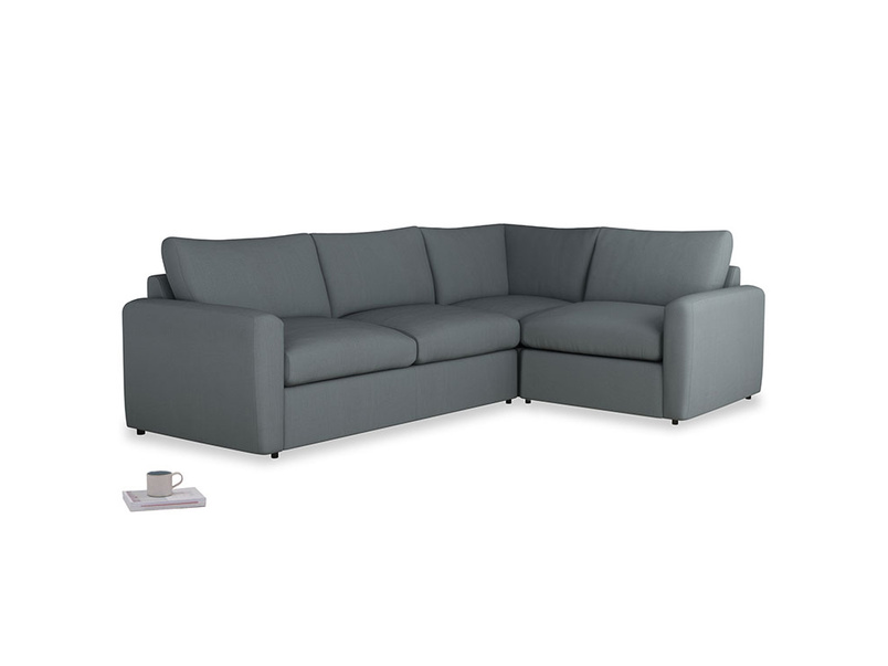 Large right hand Chatnap modular corner storage sofa in Meteor grey clever linen with both arms