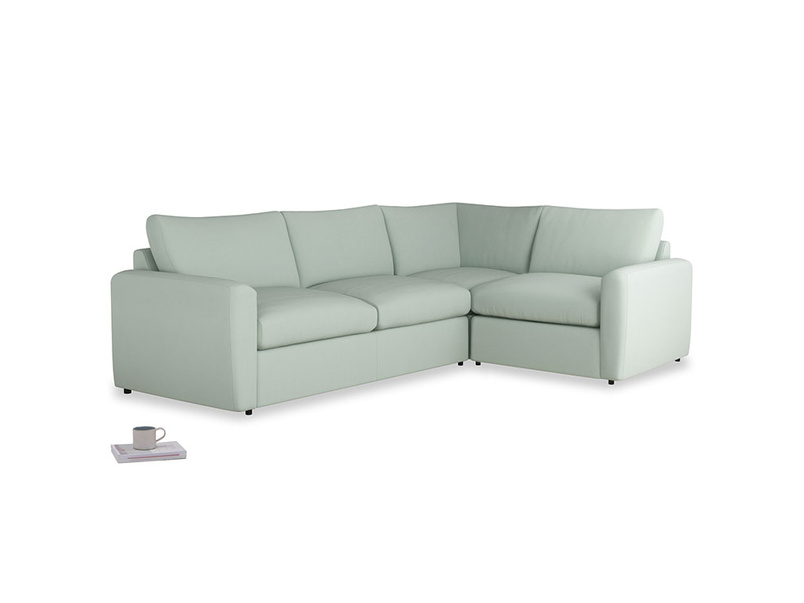 Large right hand Chatnap modular corner storage sofa in Sea surf clever cotton with both arms