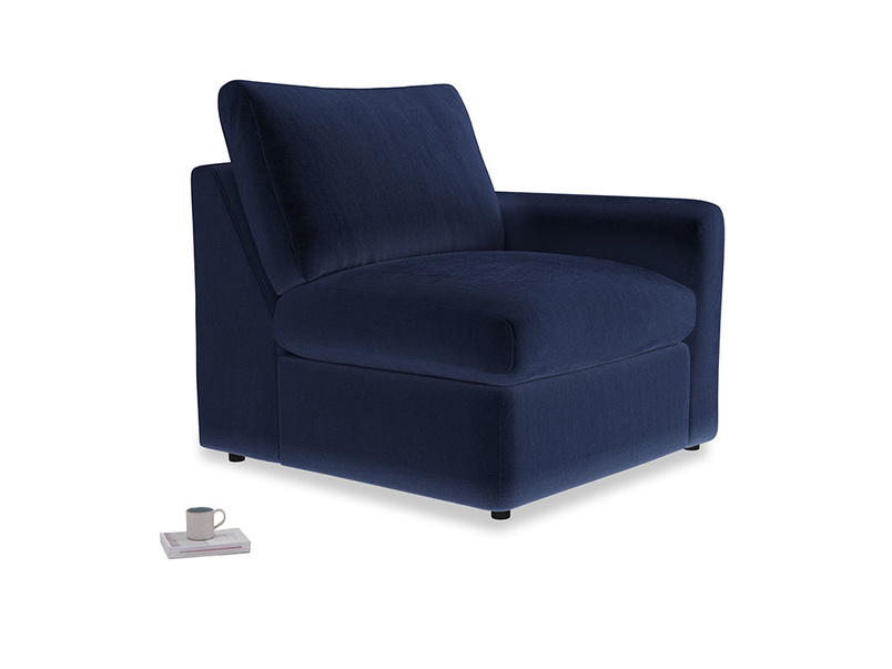 Chatnap Storage Single Seat in Midnight plush velvet with a right arm