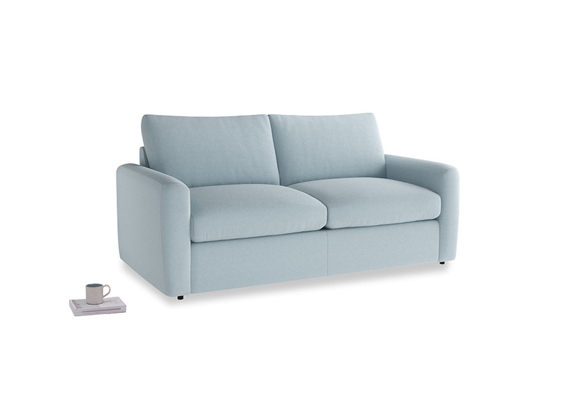 Chatnap Sofa Bed in Soothing blue washed cotton linen with both arms