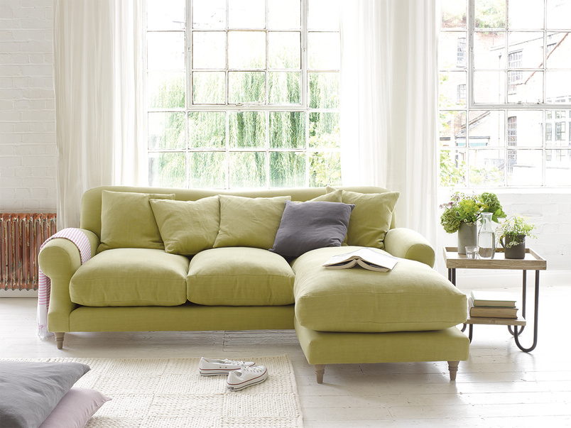 Contemporary luxury Crumpet chaise corner sofa handmade in Britain