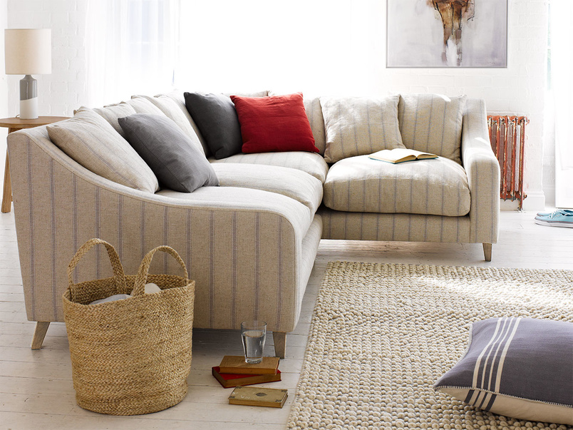 Classic style luxury Oscar corner sofa, extra deep and comfy in mid-grey broad stripe