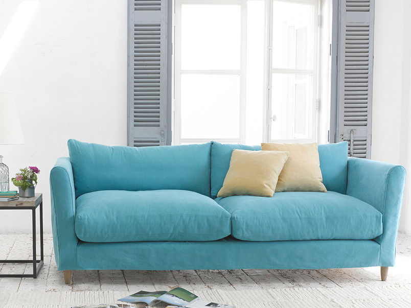 Contemporary Flopster sofa luxury modern sofa with high rounded arms handmade in Britain