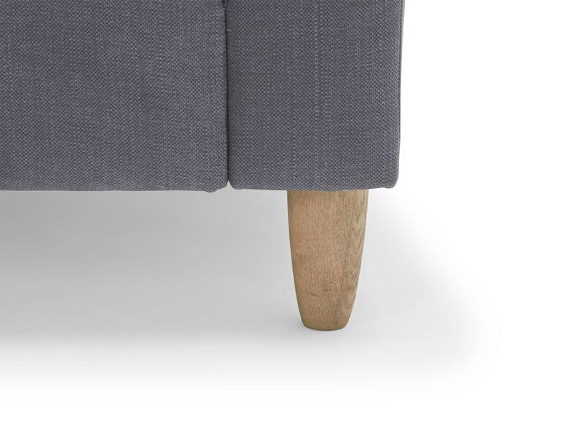 Modern Flopster sofa has handmade weathered oak legs, extra comfy