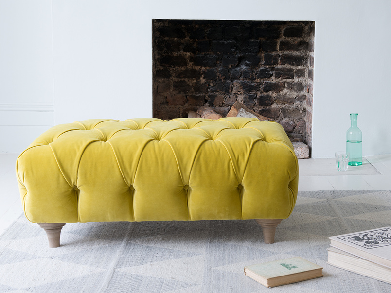 Dimple rectangle chesterfield upholstered handmade footstool