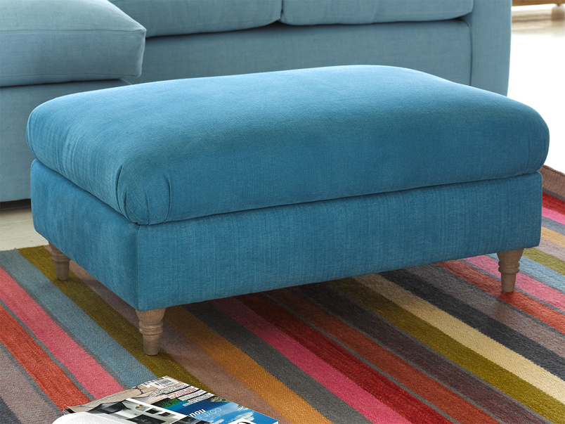 Handmade Flatster upholstered fabric authentic footstool
