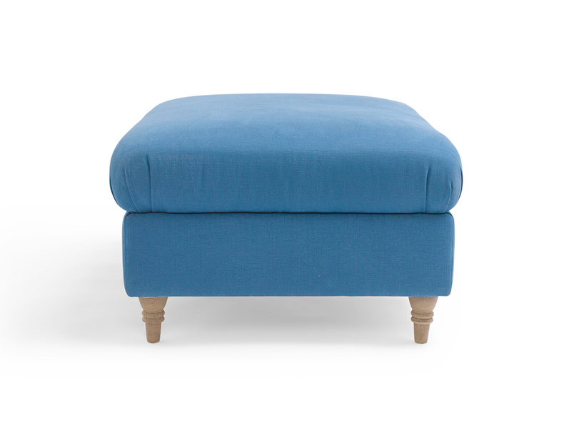 Upholstered British made handmade fabric Flatster footstool