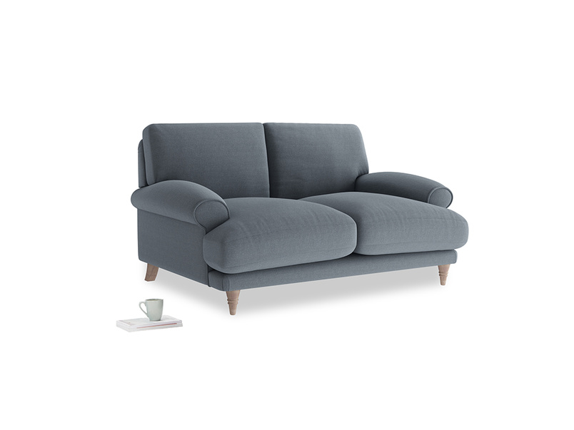 Small Slowcoach Sofa in Blue Storm washed cotton linen