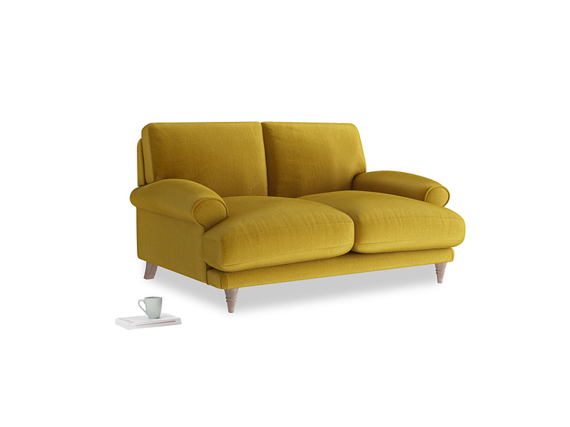 Small Slowcoach Sofa in Burnt yellow vintage velvet