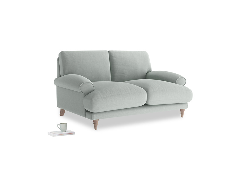 Small Slowcoach Sofa in French blue brushed cotton