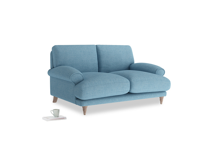 Small Slowcoach Sofa in Moroccan blue clever woolly fabric