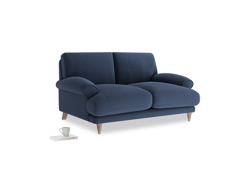 Small Slowcoach Sofa in Navy blue brushed cotton