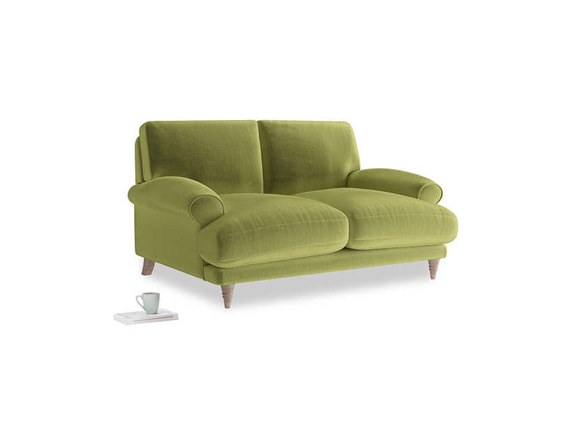 Small Slowcoach Sofa in Olive plush velvet