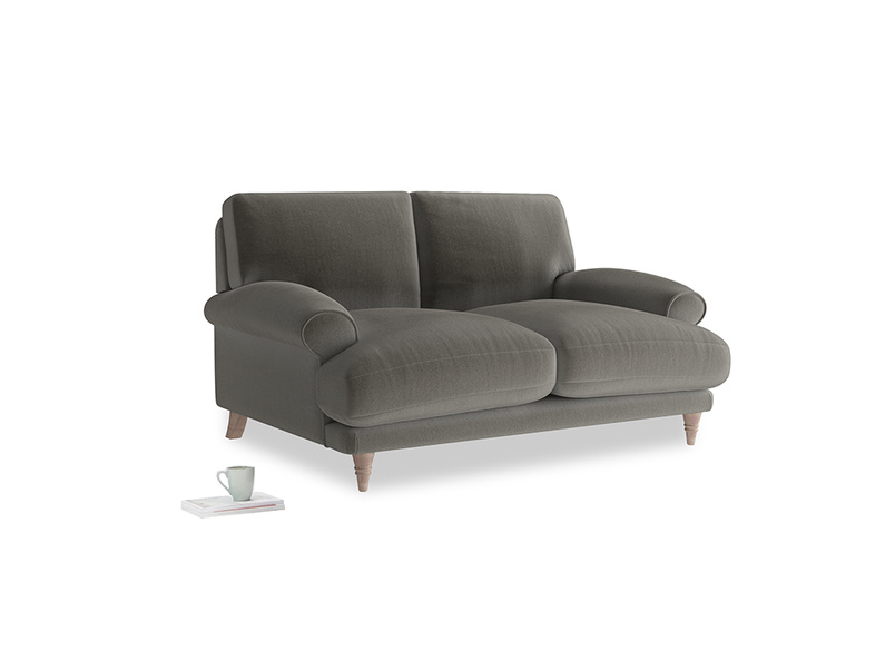Small Slowcoach Sofa in Slate clever velvet