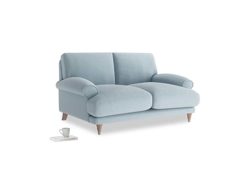 Small Slowcoach Sofa in Soothing blue washed cotton linen