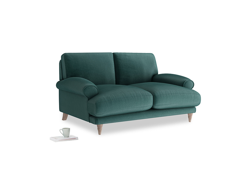 Small Slowcoach Sofa in Timeless teal vintage velvet