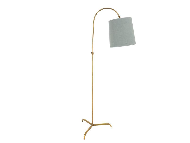Slam Dunk Floor Lamp In Brass with a Sea Salt shade