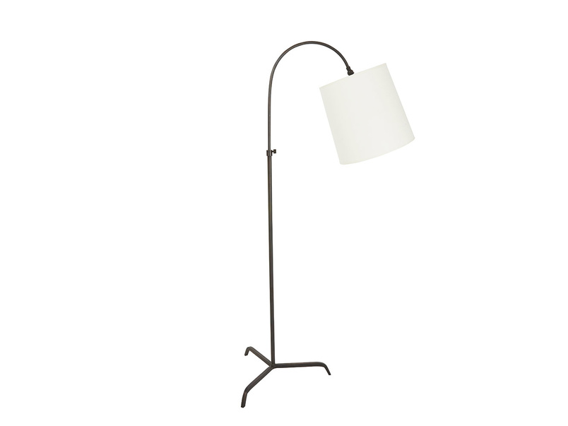 Slam Dunk Floor Lamp In Bronze with Natural Hessian shade