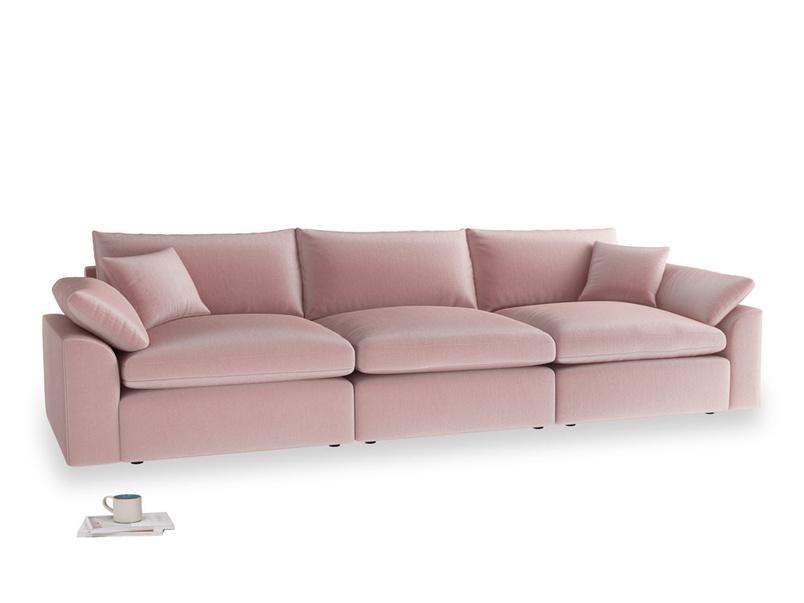 Large Cuddlemuffin Modular sofa in Chalky Pink vintage velvet