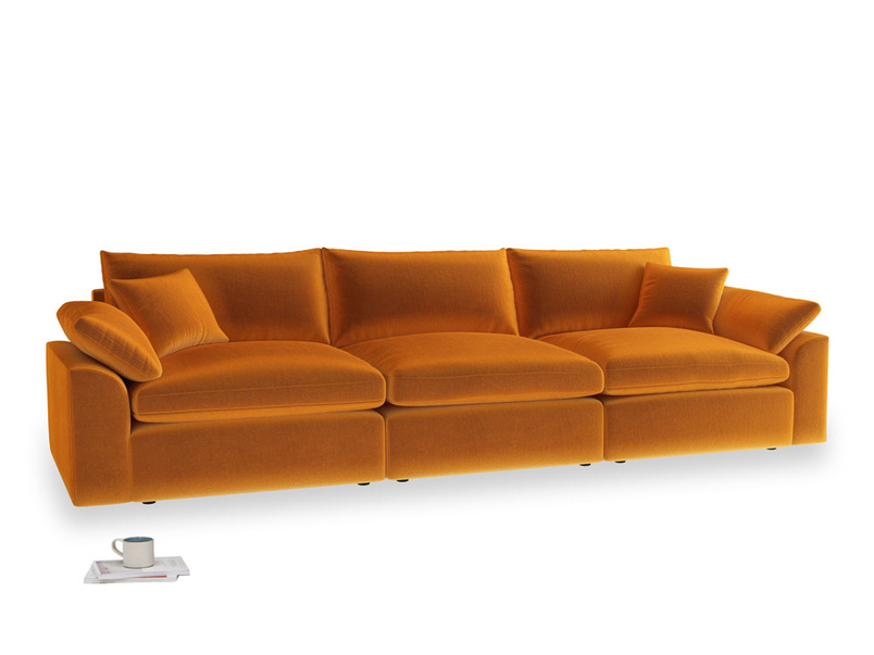 Large Cuddlemuffin Modular sofa in Spiced Orange clever velvet