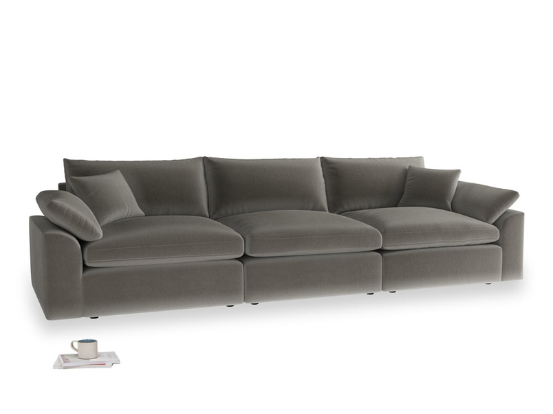 Large Cuddlemuffin Modular sofa in Slate clever velvet