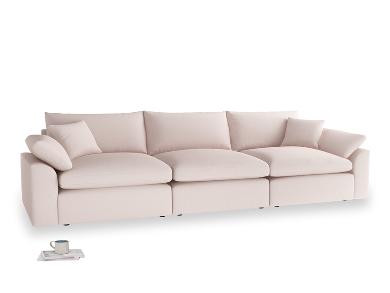 Large Cuddlemuffin Modular sofa in Faded Pink brushed cotton
